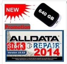 Free Shipping Alldata V10.53 For Windows 7/8/10 /XP Alldata 2014 +Mitchell 2014 software for all kinds car with one 750G hdd