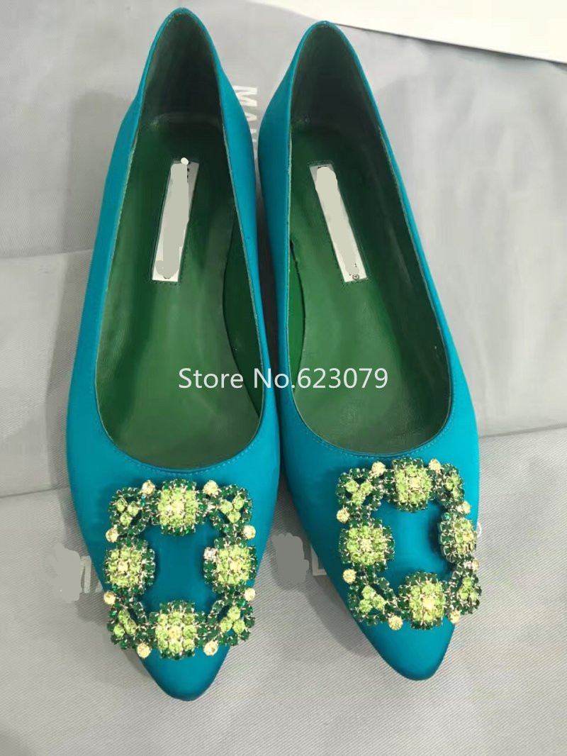 Truly Timeless Basics FLAT spring mint satin Hangisi flats embellished with crystal-encrusted square buckle Ballet Flats <br><br>Aliexpress