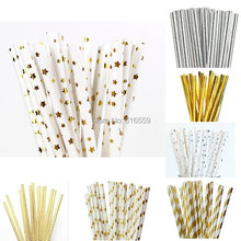 25pcs/lot Foil Design Paper Straws for Birthday Wedding Party Baby Shower decorative Creative Straws Supplies(China)
