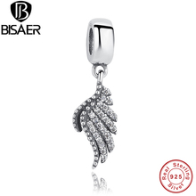 925 Sterling Silver Wings Majestic Feather Fly Charm fit Pandora Charm Bracelets & Necklaces Authentic Silver Jewelry GOS138