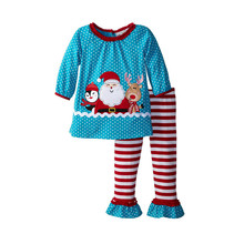 New Kids 2016 new children's boutique clothes clothing sets for autumn long-sleeved little girls Christmas ruffle pants  JT-234