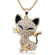 Pretty Cat Necklace For Women Filled Enamel Crystal Long Sweater Chain Necklaces Pendants Best Gift M202
