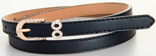 Cheap women belt pu leather belt good quality PU womans slim belts for dress black thin waist straps diamond studs buckle(China)
