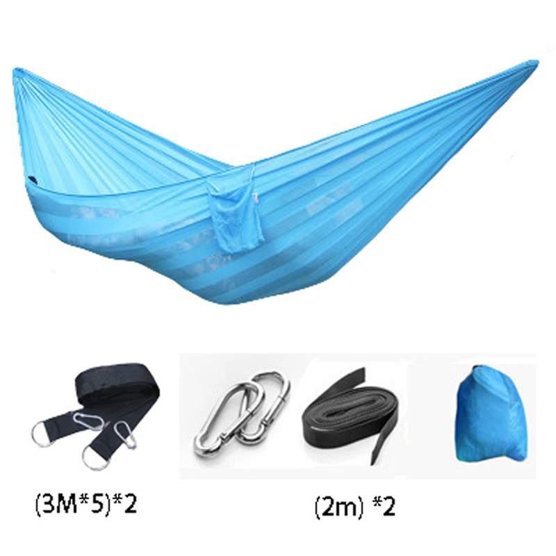 Super Soft Silk Breathable Mesh Hammocks Widened Outdoor Furniture Nylon Rope Net Hanging Sleeping Double Bed<br>