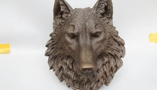 "zm 12""Chinese Art Pure Bronze refined Carved ferocity wolf Head Statue sculpture"