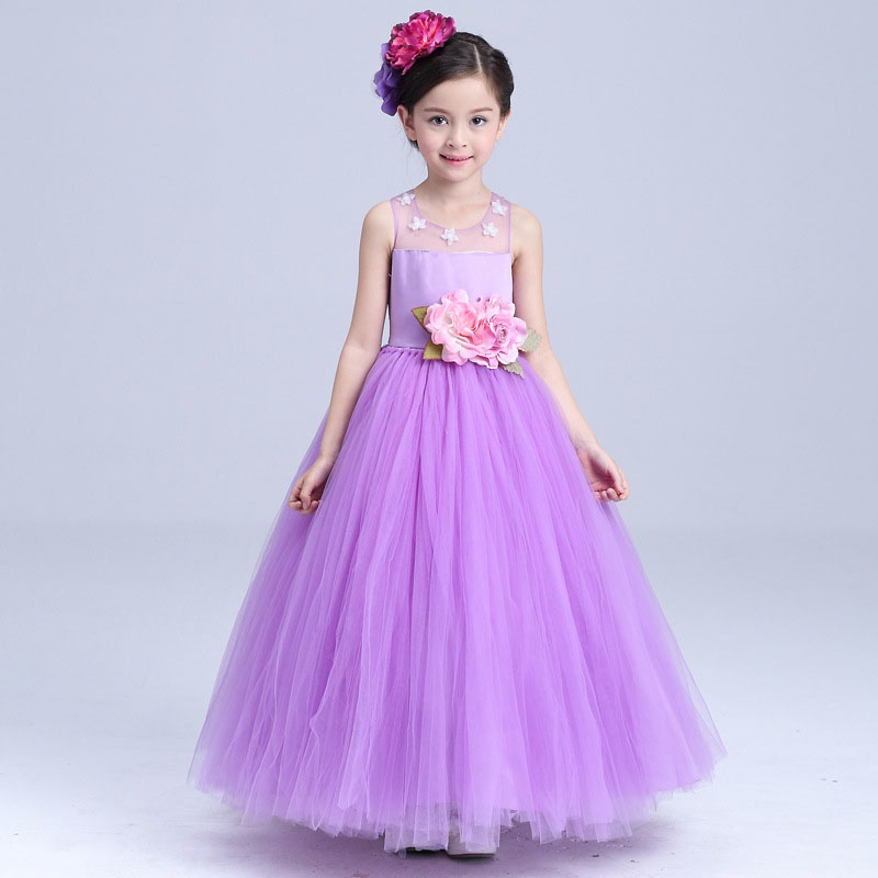 Flower girl purple princess dress for wedding party summer for size 4 5 6 7 8 9 10 11 12 13 14 year kid evening show tutu dress <br>