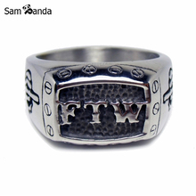 Size 7~13 Biker Ring 316L Stainless Steel FTW Punk Mechanical Screw Mens Motor Biker Ring MAA5014(China)