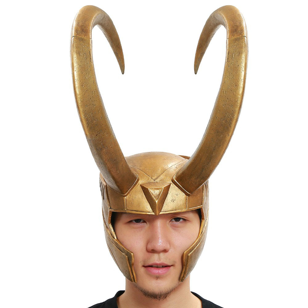 Thor Loki Helmet Marvel Cosplay Costume Props Golden PVC Full Head Mask Halloween Festival Party Cosplay Helmet For Men Women