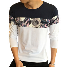 Buy New Design Fashion T Shirt 2016 Autumn O Neck Casual T-Shirt Men Long Sleeve Flower Patchwork Slim Fit Mens Clothes Tops Tees for $10.62 in AliExpress store