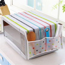 Waterproof Microwave Oven Covers Cute Pattern Kitchen Storage Organizer Dust-proof Cover With Pockets Hoem Decoration Pastoral(China)