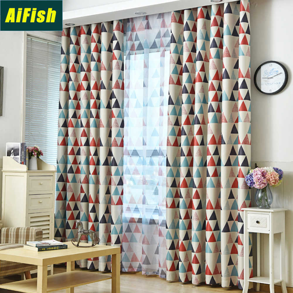 Thermal Insulated Room Darkening Blackout Curtains for Kids Bedroom Green Red Geometric Sheer Curtain Tulle Living Room WP2112