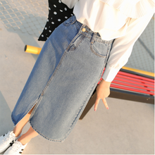 2017 Denim Skirt Saia for Women Faldas Long Jeans Skirt Students Girls High Waist Split Slim Maxi Midi Jeans Skirts Saias Longas