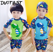 Baby Boys Clothes Dinosaur Swimwear Swimming Childrens Shirt+Pants+Hat 3pcs Spa Bathing Summer Beach Swim Suit Clothing Costume
