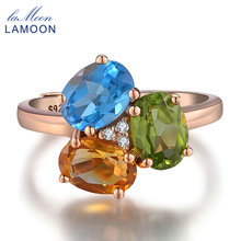 URING- 3pcs 3ct Oval Yellow Citrine Green Peridot Blue Topaz 925 sterling-silver-jewelry Rose Gold Wedding Ring S925 LMRI002