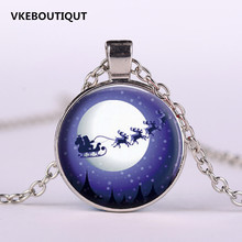 3/Color 2017 New Arrival Christmas Jewelry Santa Claus Carriage Necklace Glass Art Print Pendant Gifts for Boys Girls(China)