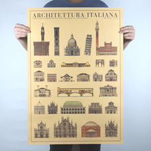 Italy and France Architectural Drawings Collection Retro Poster Kraft Paper Office Decorative Wall Stickers Free Shipping