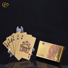 Wholesale Custom Plastic Gold Playing Cards The 500 Euro Design Colorful Gold Poker Card for Family Gift and Souvenirs(China)