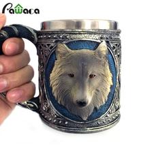 Wolf Drinking Mug Resin Stainless Steel Lining Retro 3D Wolf Pattern Wine 450 ML Funny Coffee Mug 2017 New Arrival(China)