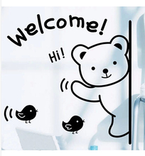 2015 Black welcome cute bear 3D self adhesive and removable wall sticker for bedroom living room store home decor free shipping(China)