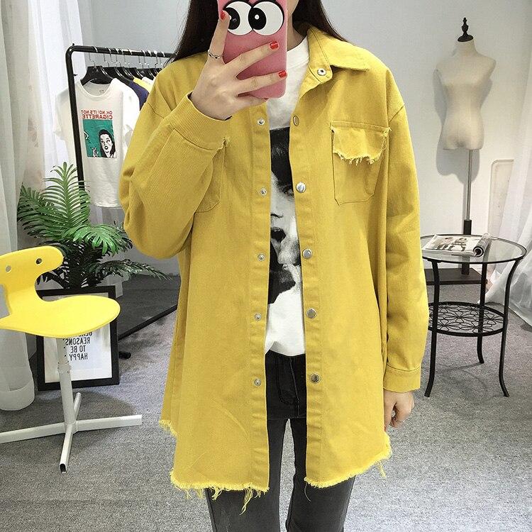 2018 Spring Autumn New Long Section Lapel Tassel Denim Jackets Women Loose Casual Long Sleeve Female\'S Thin Basic Jacket Coats (2)