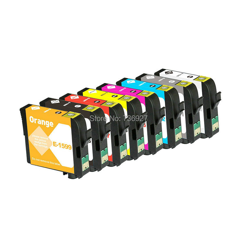 2 Sets Compatible ink Cartridge T1590 T1591 T1592 T1593 T1594 T1597 T1598 T1599 For Epson Stylus Photo R2000 inkjet printer<br>