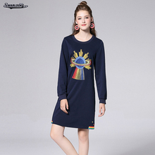 Swarlooke 2017 New Arrival Fashion Women Loose Slim Personalize Embroidered Casual O-Neck Long Sleeve Dress Plus Size(China)