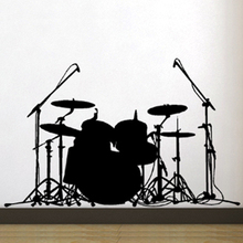 Free Shipping Wall stickers Home decor SIze:560mm*670mm PVC Vinyl paster Removable Art Mural Music Bass drums J-41(China)
