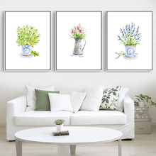 Potted Flower Canvas Painting Baby Flower Oil Painting Bright Colored Floral Plants Prints Home Decoration Wall no Frame Picture