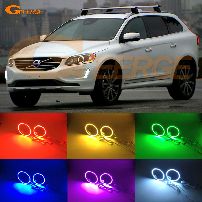 For Volvo XC60 2014 2015 2016 XENON HEADLIGHT Excellent Multi-Color Ultra bright RGB LED Angel Eyes kit Halo Rings<br>