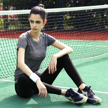 Maxmessy Summer Women Professional Shirt Fitness Running Tennis Sports T Shirts Short Sleeve Tees Jogging Exercises Gym Tops(China)
