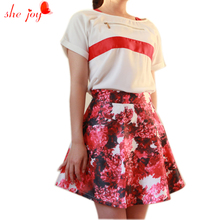 Chiffon Blouse + Florals Print Skirt Stylish Women's Sets Summer Female Vestidos Two Piece Set Women casaco feminino Tracksuits(China)