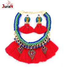 JURAN 2017 Hot Sell Trend Fashion Red Rope Tassel Earrings Vintage Party Girl Statement Necklace Set For Women Jewelry G1301