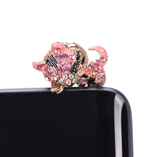 Full of Diamond Cute Jewelry Sleepy Little Cat Phone Dust Plug For Iphone and All 3.5mm Earphone Plug Smart Phone(China)