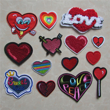 fashion good-looking red heart patch hot melt adhesive applique embroidery patches stripes DIY clothing accessory C436-C2075