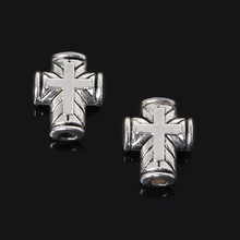 Penney Hot Sale 8*10mm 160pcs Zinc Alloy Beads Antique Silver Plated Loose Spacer Cross Beads Charms Jewelry Findings Fit DIY