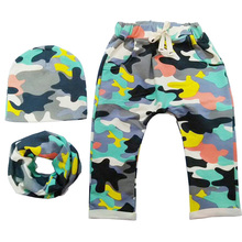 3pcs/set,Baby Hat+Scarf Ring+Baby Pants with Camo Print,Cotton Children Hat Scarf Collars Spring Autumn Baby Clothes Accessory