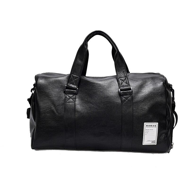 Women Men PU Leather Sport Gym Bag Travel Duffle B...