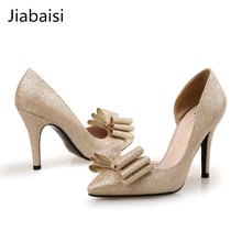 Jiabaisi shoes sandals shoes women heels sweet butterflyknot 9cm shining high heel summer sandal sweet thin sexy shoes(China)