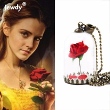 Beauty and the Beast Necklace Rose in Terrarium Pendant His Beauty/Her Beast Valentines Day,Fairy Tale Movie Victorian Jewelry