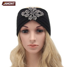[JAMONT] Women Knit Headbands Flower Jewlery Crochet Headwrap Winter Ear Warmer Hairband Girl Hair Accessories Q3316