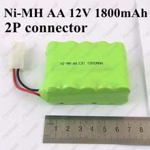 1pc 12v 1800mah nimh aa Ni-mh AA 12V Ni-MH Rechargable Battery Pack 2P connector 12v battery aa moteur 12v for cleaner toys car