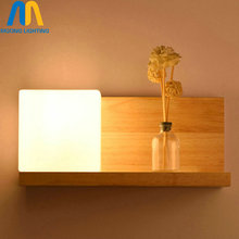 Wooden Glass led indoor wall lamps wall sconce light fixtures for home stairs bedroom lamp bedside cabinet japanese