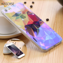 KISSCASE For iPhone 6 6s 6 Plus 6S Plus Clear Blue Ray Print City Diamond Capa Case For iPhone6 Plus 6S Plus Soft TPU Back Cover