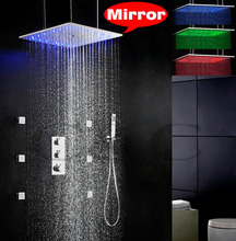 Thermostatic Bathroom LED Shower Faucet Set Ceil Mounted 3 Colors LED Temperature Sensitive Swash And Rain Shower Head