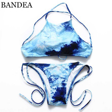 BANDEA 2016 Suit top High Neck Removable padding Bikini Set Floral Printed Swimsuit Padded Swimwear Biquini Crop Top +bottom 671(China)