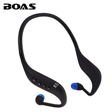 BOAS bluetooth 4.0 earphones running sport headphones support TF card MP3 player FM radio sweatproof headsets Mic for smartphone(China)