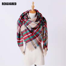 Hot Sale New Fashion Women'S Scarf Soft Cashmere Blanket Warm in Winter Fashion Plaid Square Shawls