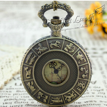 Free Shopping High Quality wholesale antique fashion retro alloy constellation pocket watch(China)