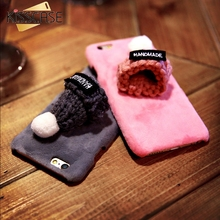 KISSCASE Christmas Cap Case For iPhone 6 6s Fashion Soft Plush Shell Cute Girly Knitted Hat Protective Cover For iPhone 7 8 Plus(China)