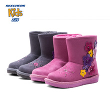 SKECHERS Winter Snow Boots Girls Flowers Embroidery Femal Children Shoe Thick Warm Leather Wool Mid Calf Baby Kids Sneaker Boot(China)